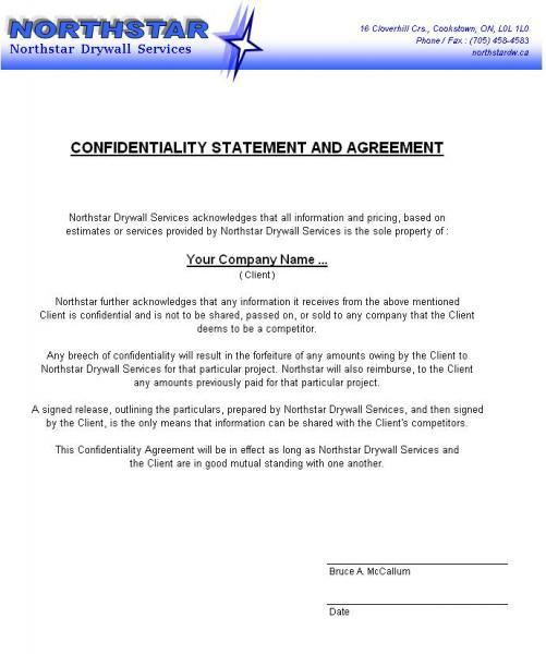 northstardwca Confidentiality – Confidentiality Statement